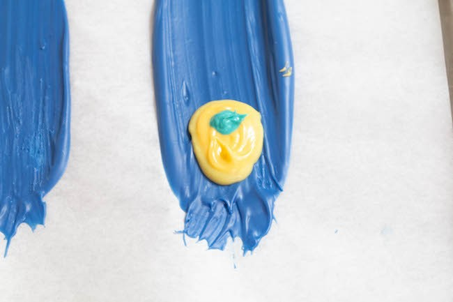 Piping Teal Chocolate onto the Feather   Erin Gardner   ErinBakes