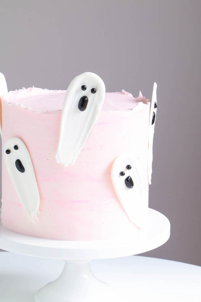 Chocolate Brushstroke Ghosts on a Pink Cake | Erin Gardner | Erin Bakes