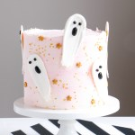 Brush Stroke Ghost Halloween Cake by Erin Bakes