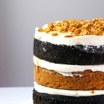 Layers of Peanut Butter Cake and Black Velvet Cake