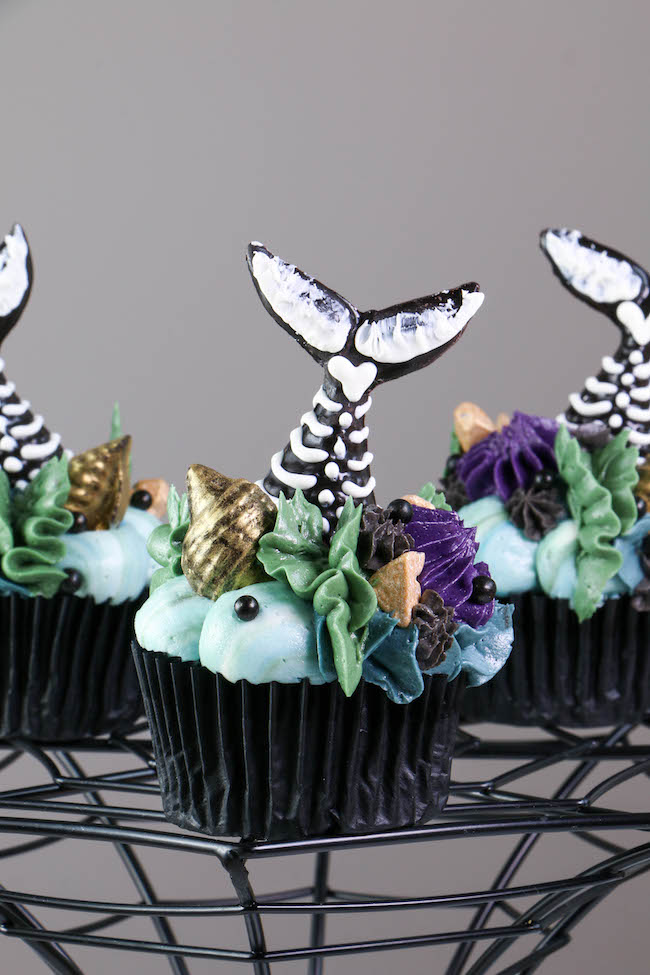 Mermaid Tail Skeleton Cupcake | Erin Bakes