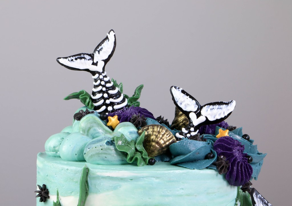 Top of the Mermaid Tail Skeleton Cake | Erin Bakes