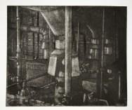 "Boiler Room I, intaglio, 6"" x 7.5"", 2008."