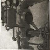 "Boiler Room IX, intaglio, 6"" x 6"", 2008."