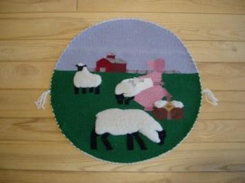 round sheep rug