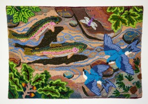 trout and swallows tapestry