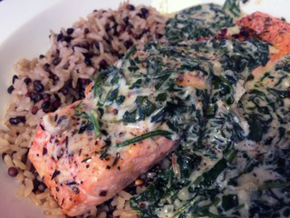 salmon with arugula cream sauce