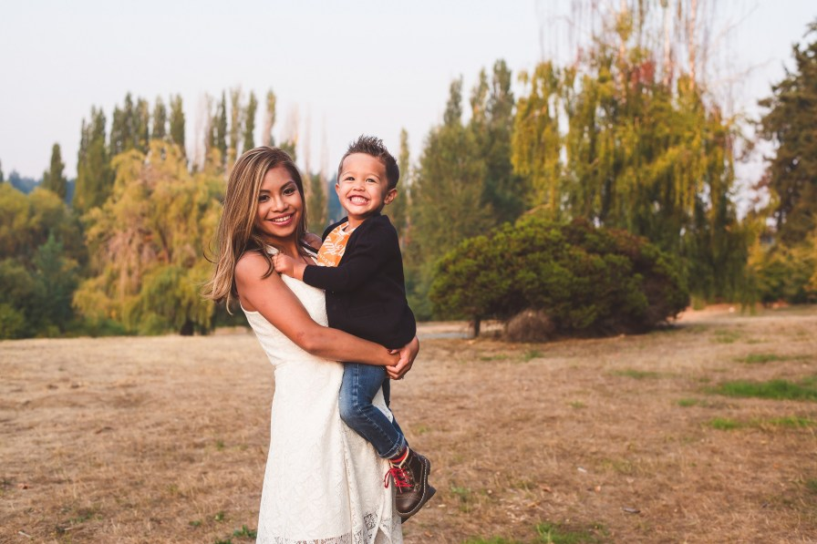 Mom holding young son in family photo Kirkland Seattle family photographer
