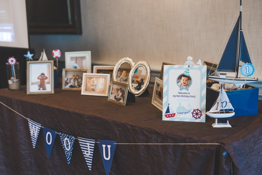 Table of birthday party decorations by Seattle event photographer