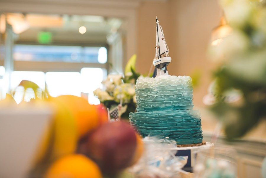 Sailboat themed blue and white 2 tiered cake