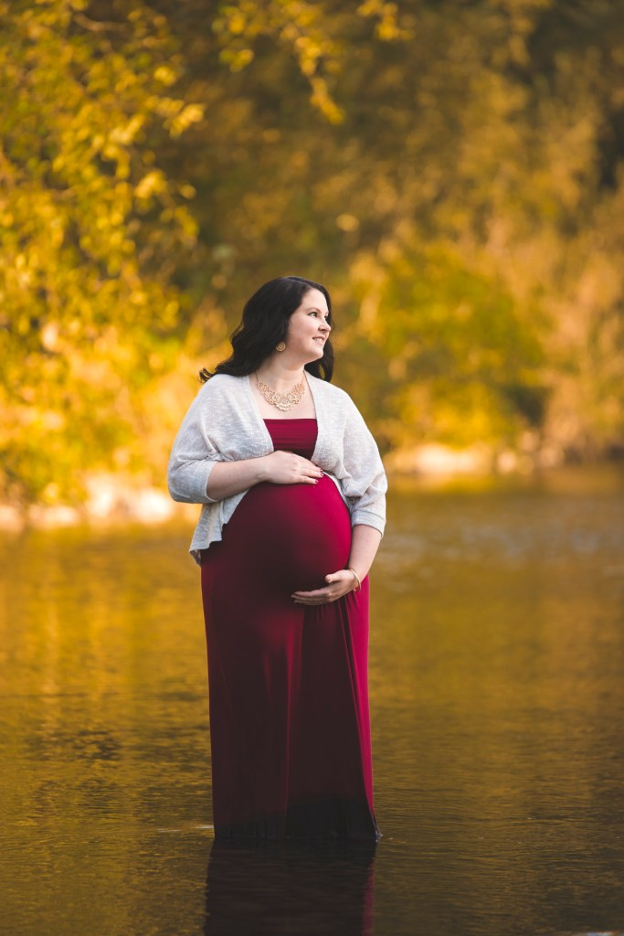 Pregnant Mother in Snoqualmie River with Seattle Maternity Photographer