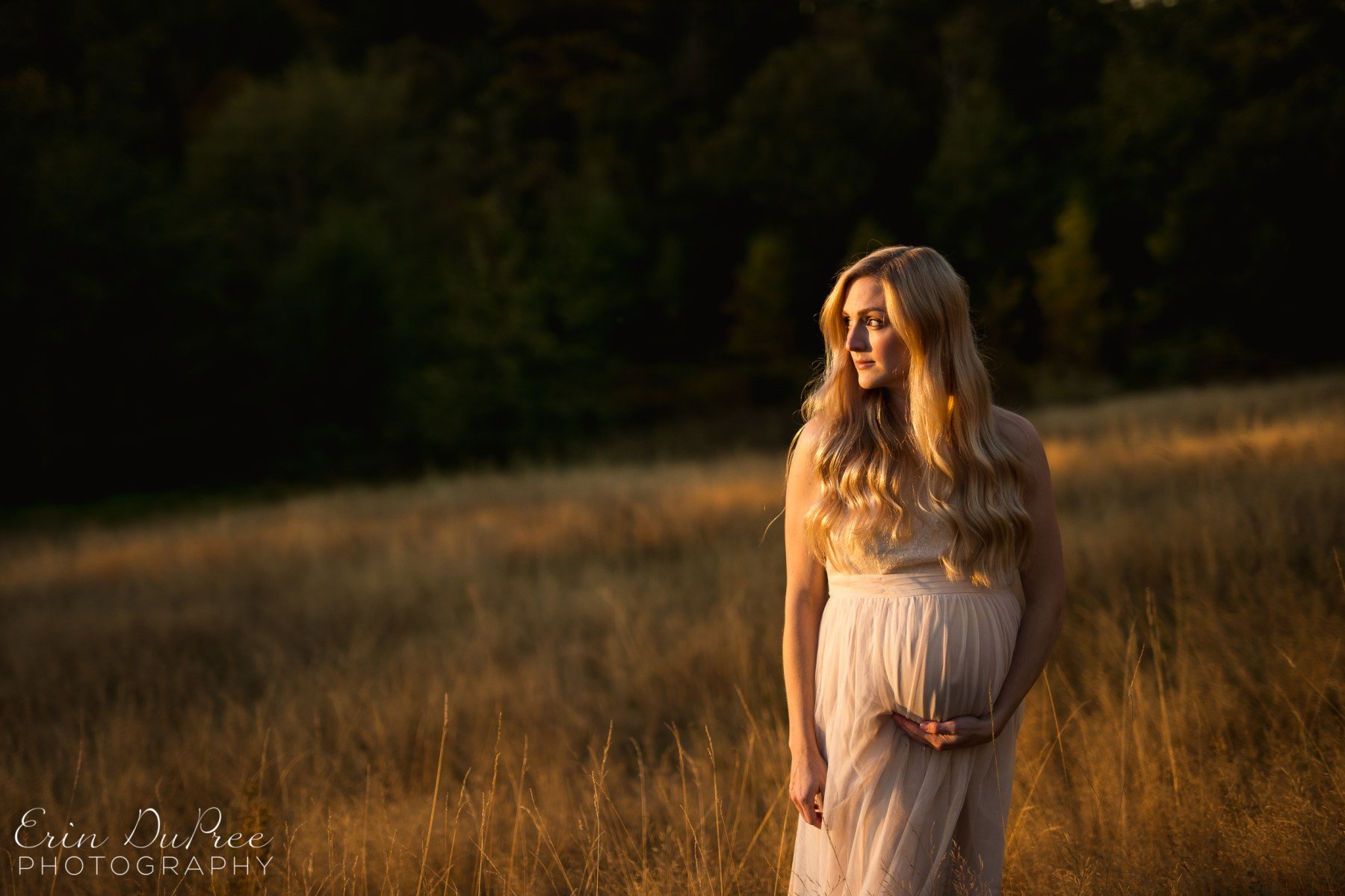 Pregnant woman posing for maternity photo in grassy field by Seattle Maternity Photographer