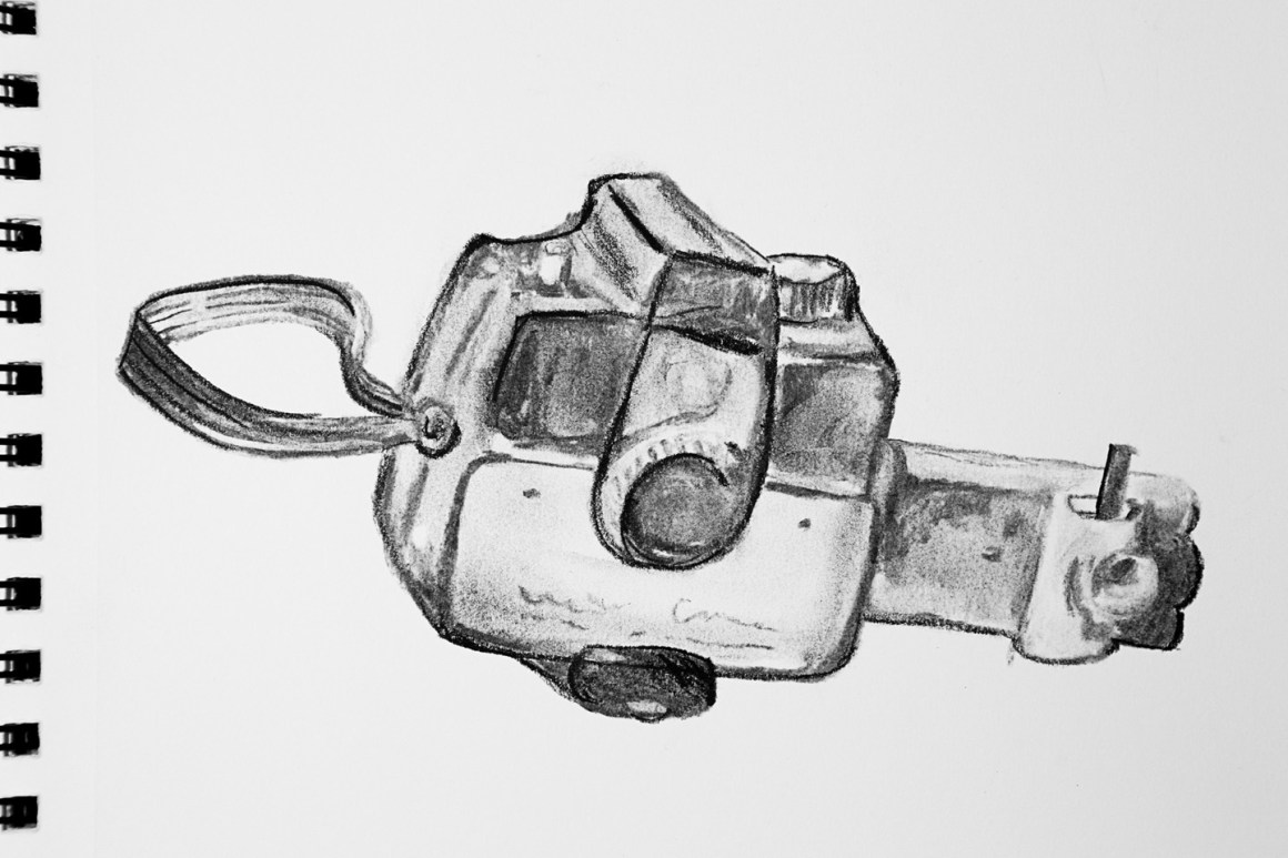 Coffee Sketch #3, created 1/13/16. Official Camera of the Boy Scouts of America, 1960's.