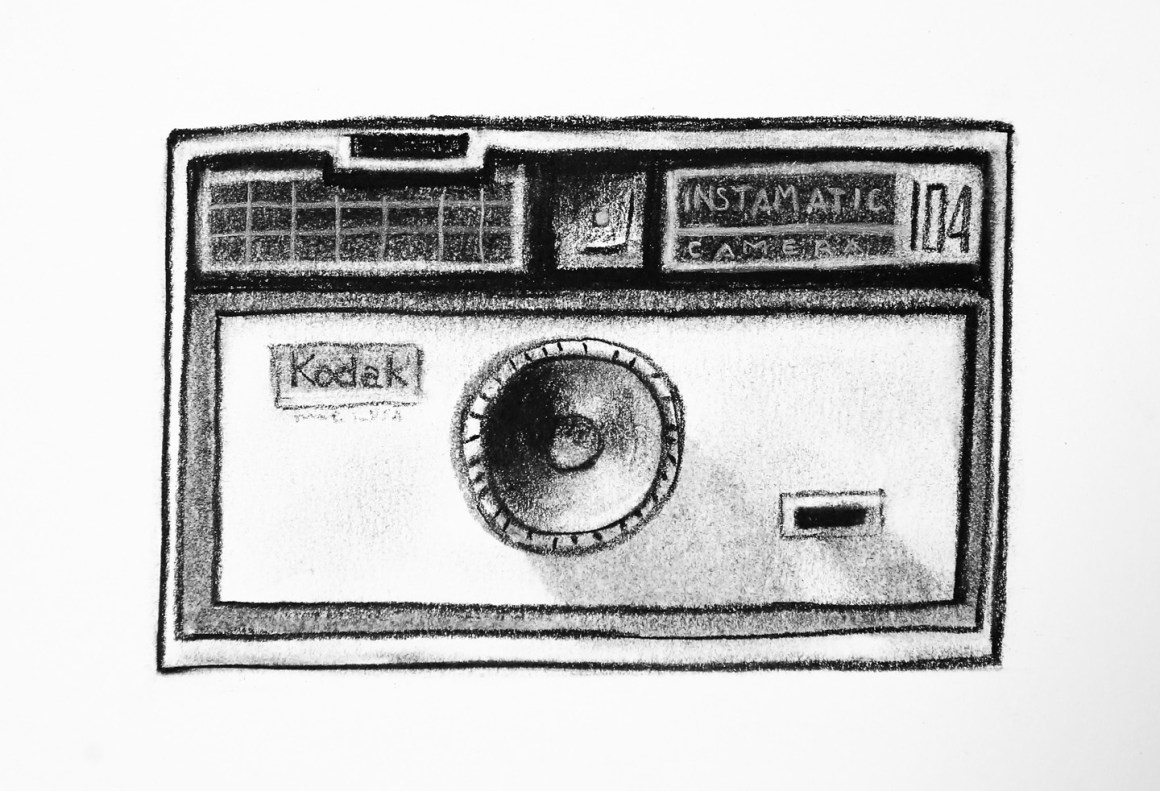 Coffee Sketch #18, created 2/4/16. Kodak Instamatic 104 Camera (1963). *BONUS - I found another roll of film inside!
