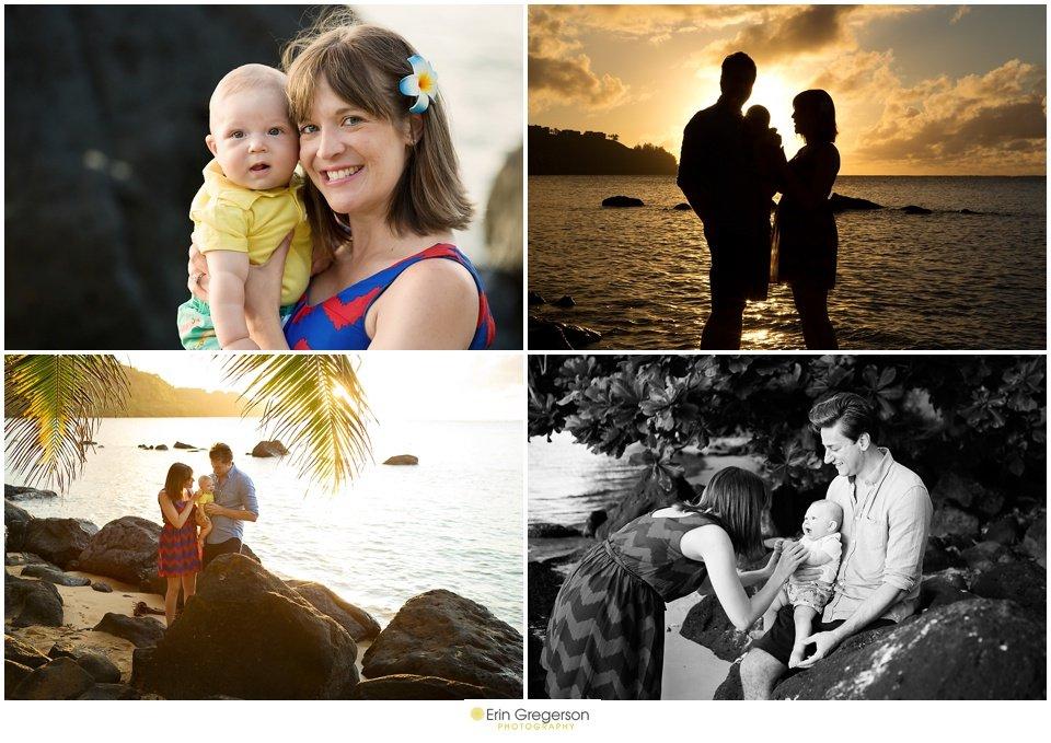 Kauai sunset beach photos of family of three