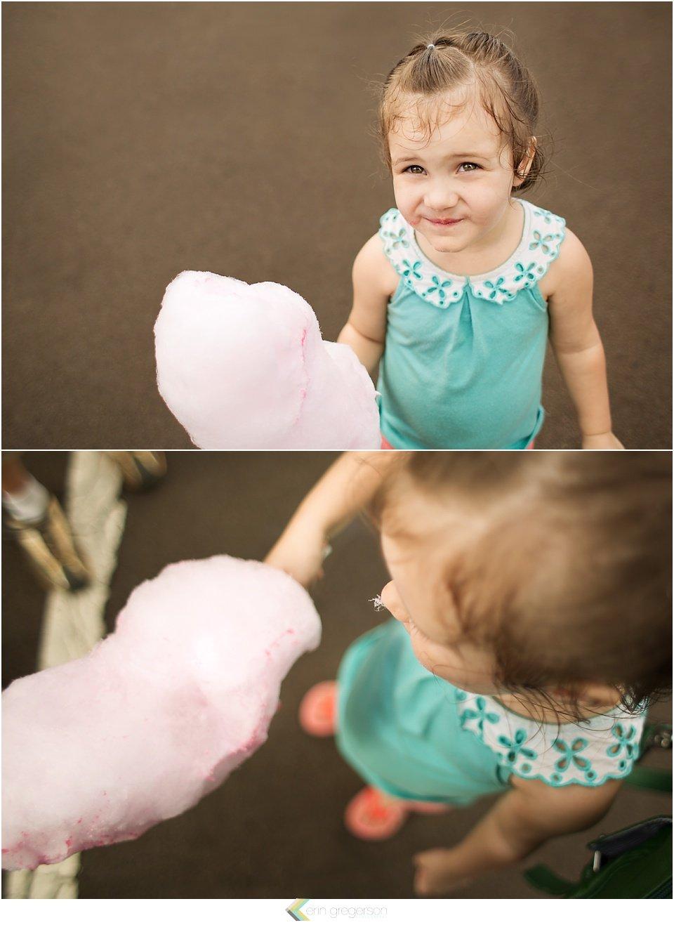 girl with cotton candy ay Kauai County Fair, with Kauai family activities