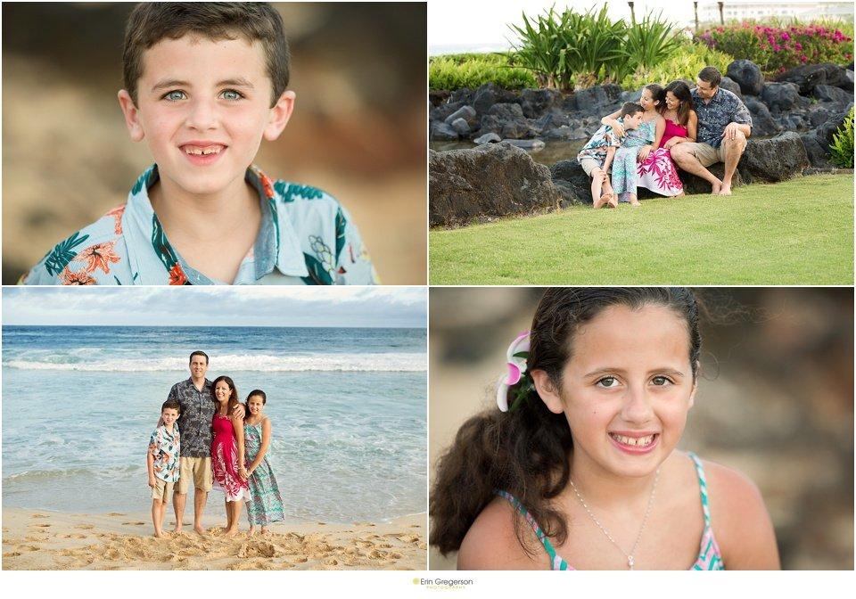 Beach photo session on Kauai of family of four