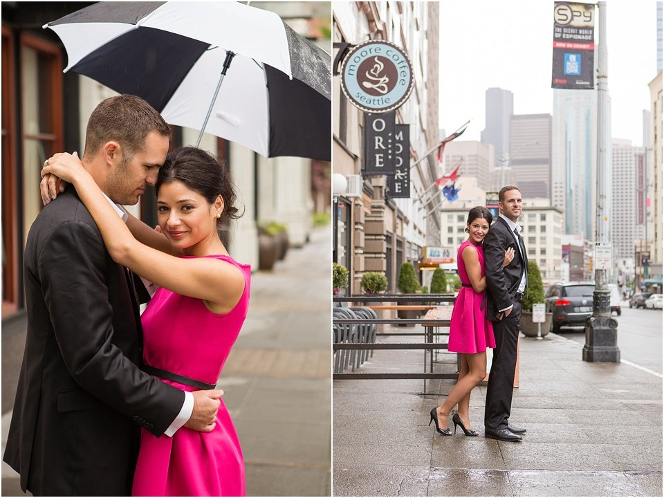 couple on Seattle street in rain