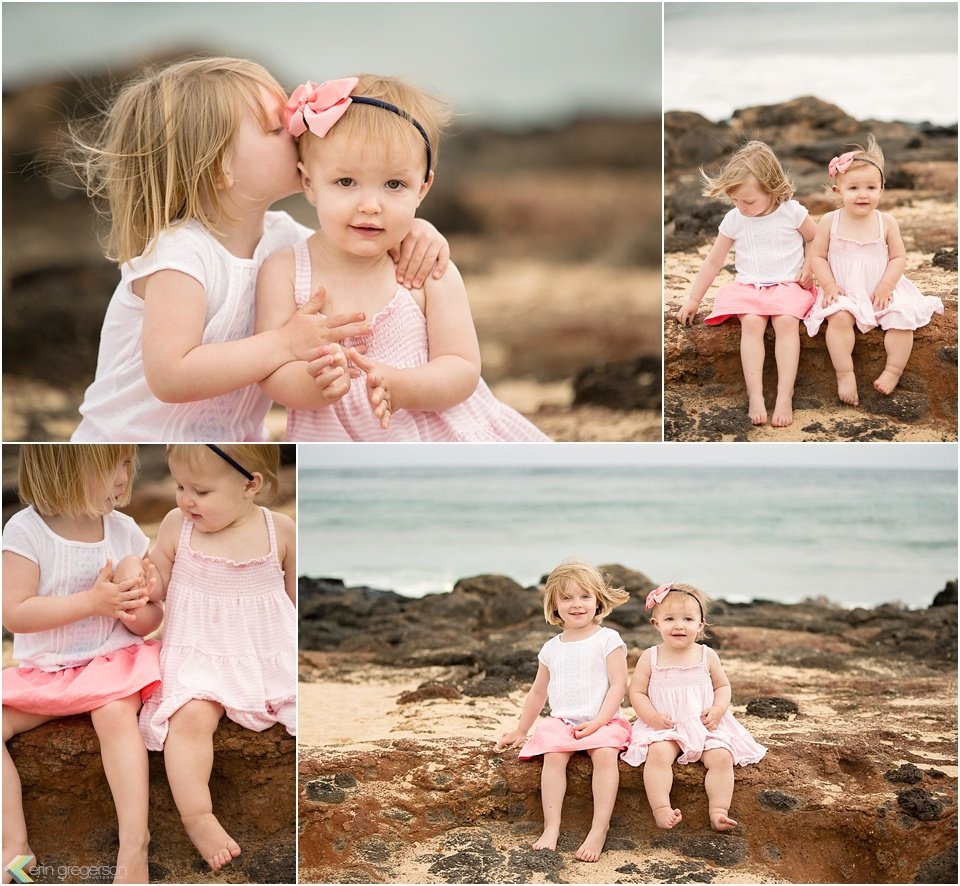 family photographer in kauai-two little girls on the beach by erin gregerson photography