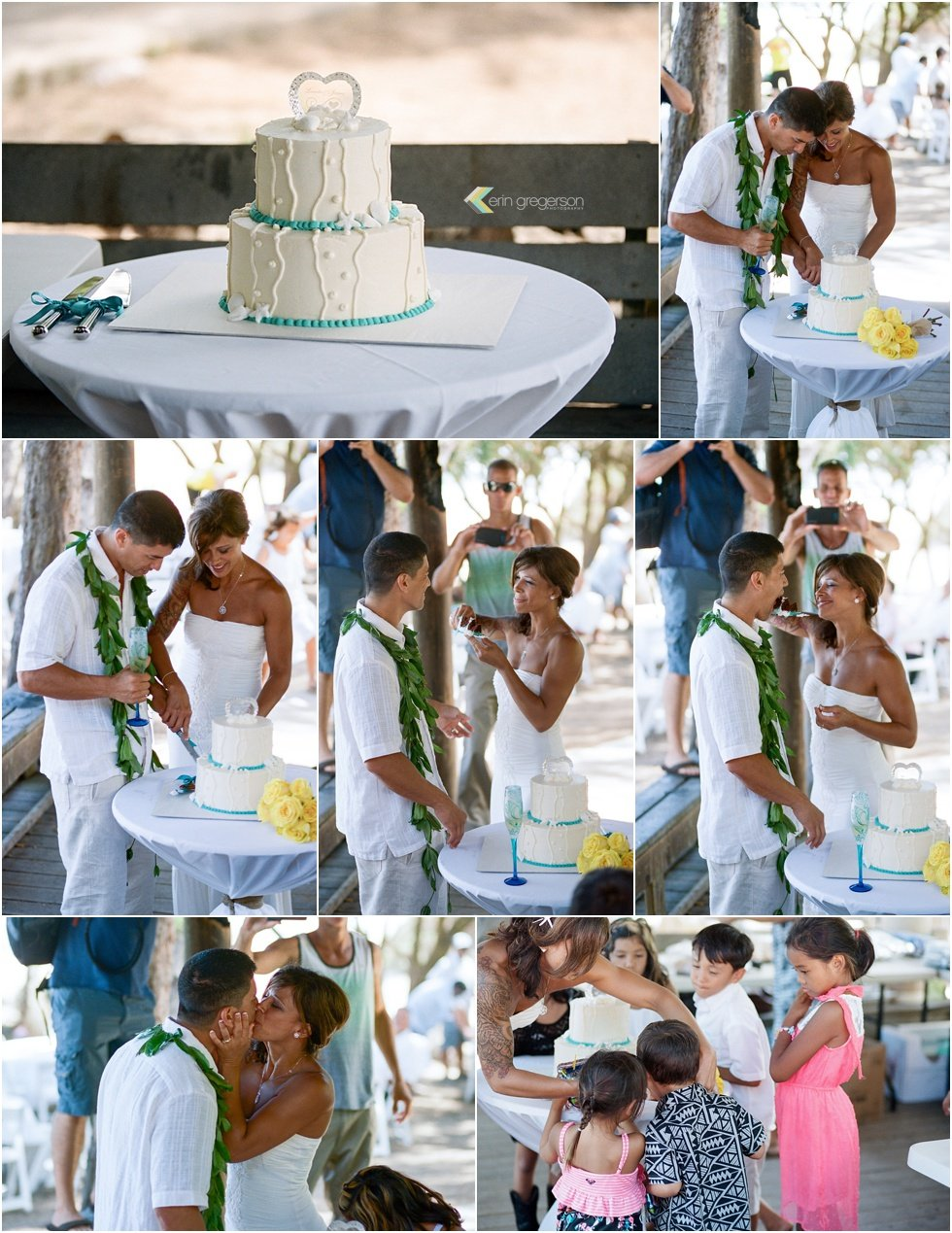 Kauai Wedding cake cutting by Erin Gregerson Photography