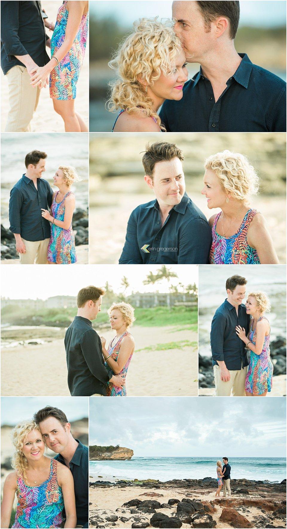 Kauai anniversary photography photos of couple on the beach by Erin Gregerson Photography