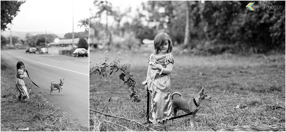 Black and white film collage image of little girl and her dog on Kauai