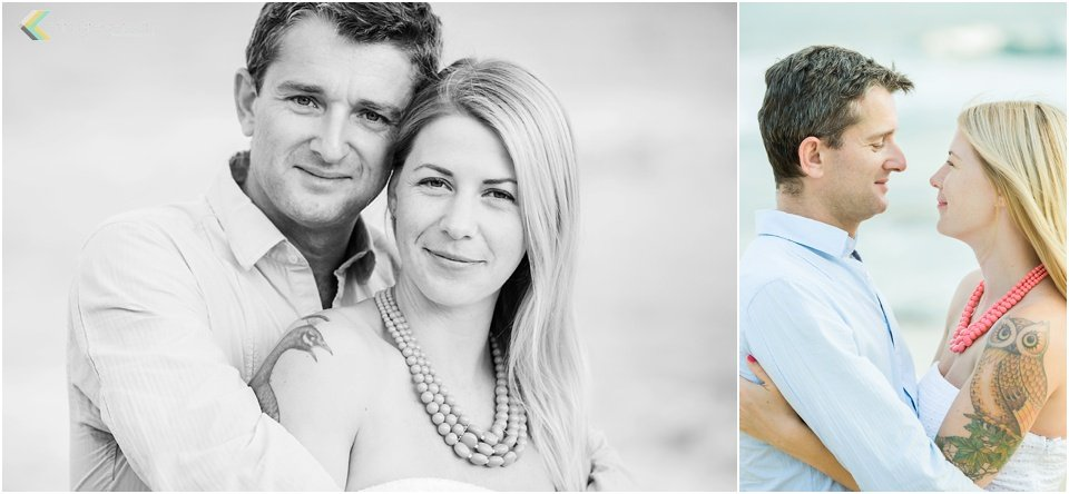 black and white and color images of beautiful couple in front of ocean Kauai