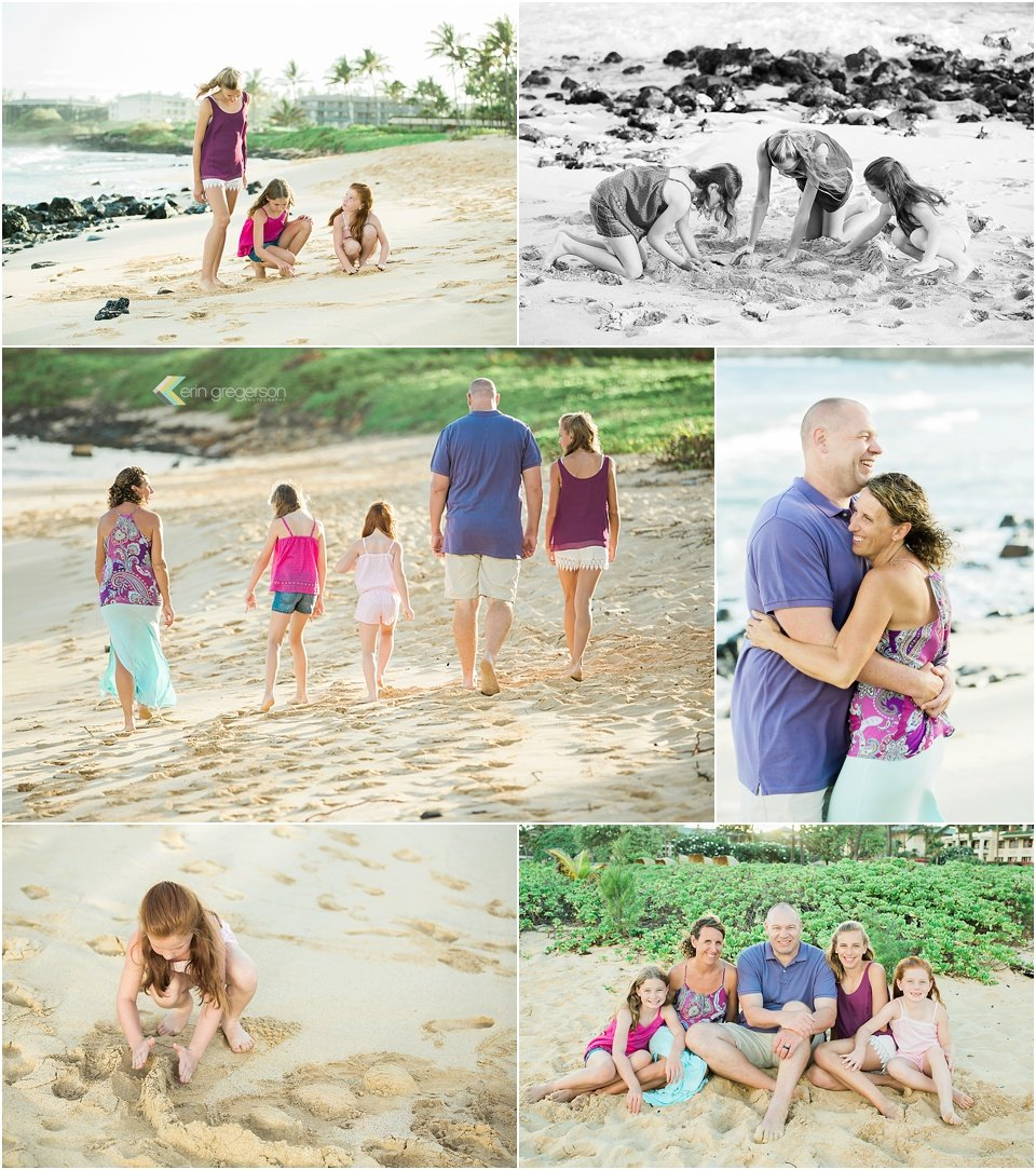 family with three daughters wearing purple and pink having fun Kauai beach