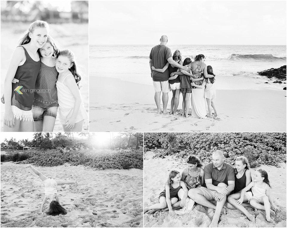 Black and white photo collage of family of five having fun Kauai beach
