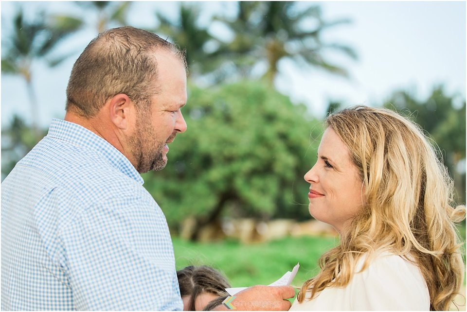 couple looking each other lovingly Kauai vow renewal