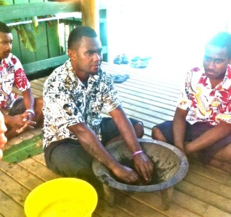 George leads the kava welcome