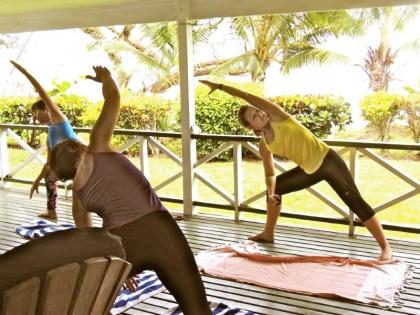 Karen takes morning yoga