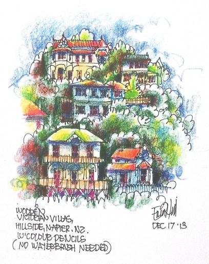 Napier. Houses on the hillside.