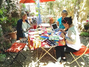 Glenys, Niki and I sketching in the garden