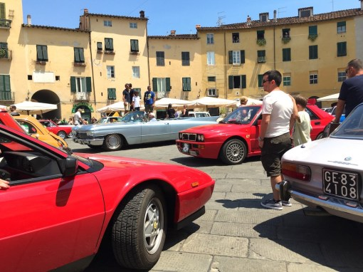 Sunday. Vintage car rally in Lucca