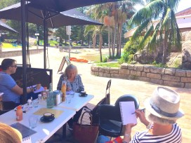 Sat Gen. ManlyCove cafe sketching