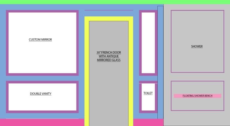 Master Bathroom Trim Plan - Door wall