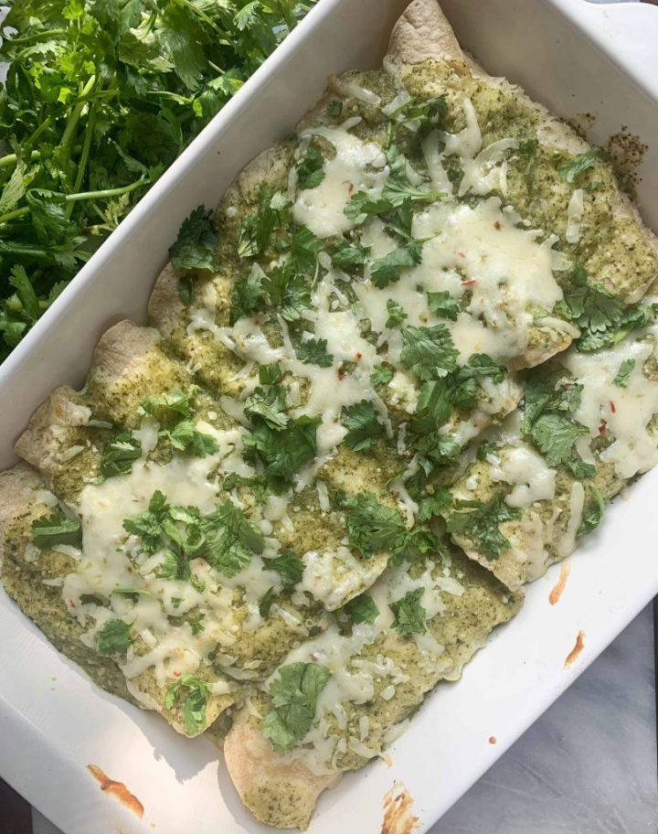 weeknight chicken enchiladas verdes