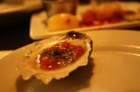 I ate my first oyster! It was small and slid down easily in one quick and tasty swallow. My dad had put olive oil and cocktail sauce on it, so all I tasted was the spicy and flavorful sauce.