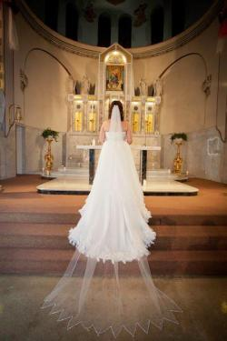 deanna wore a custom scarf-edged veil with dramatic crystal edging and allover crystal detail