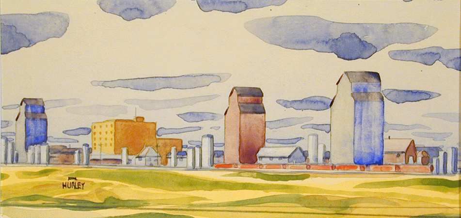 Robert Newton Hurley, North Battleford - At Sunset, 1942. Watercolour and Graphite, Mendel Art Gallery no. 1993.9