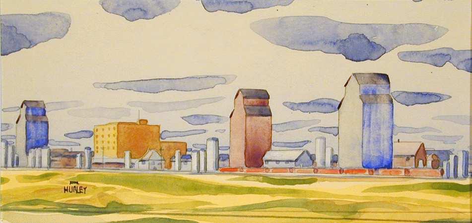 Robert Newton Hurley, North Battleford - At Sunset, 1942. Watercolour and Graphite, Mendel Art Gallery no. 1993.9