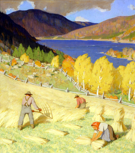Clarence Gagnon. Harvesting, ca. 1930. Painting on paper, (21.2 x 18.9 cm). McMichael Canadian Art Collection no. 1969.4.27