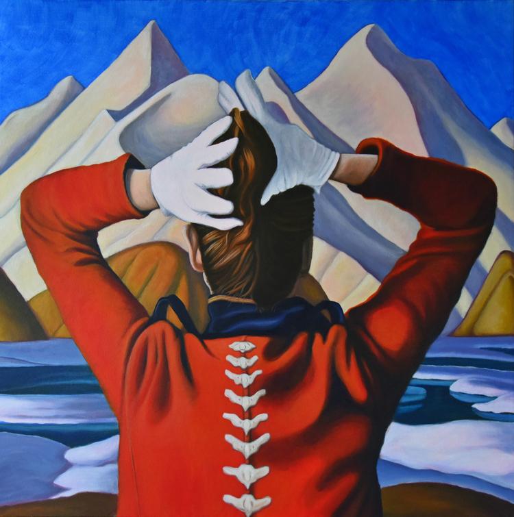 Brandy Saturley. Let Your Backbone Rise, 2016. Acrylic on canvas, (91.5 x 91.5 cm). ArtMoi ID: 2Z6-034-2L6 (http://www.brandysaturley.com)