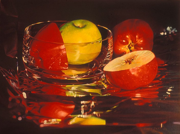 Mary Pratt. Glassy Apples, 1994. Oil on canvas (45.7 x 61.0 cm)