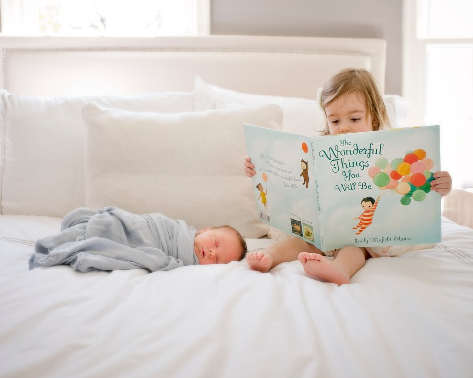 Oh The Wonderful Things You Will Be Book with big Sister and Little Brother styled Newborn Session