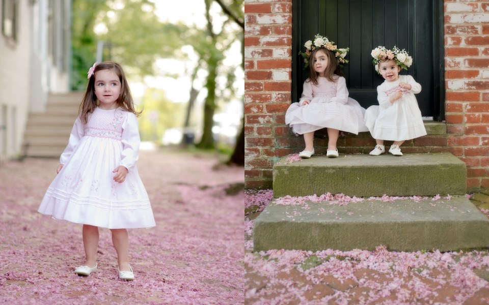 Cherry Blossoms and Flower Crowns and smocked dresses toddler girl photos in old town alexandria