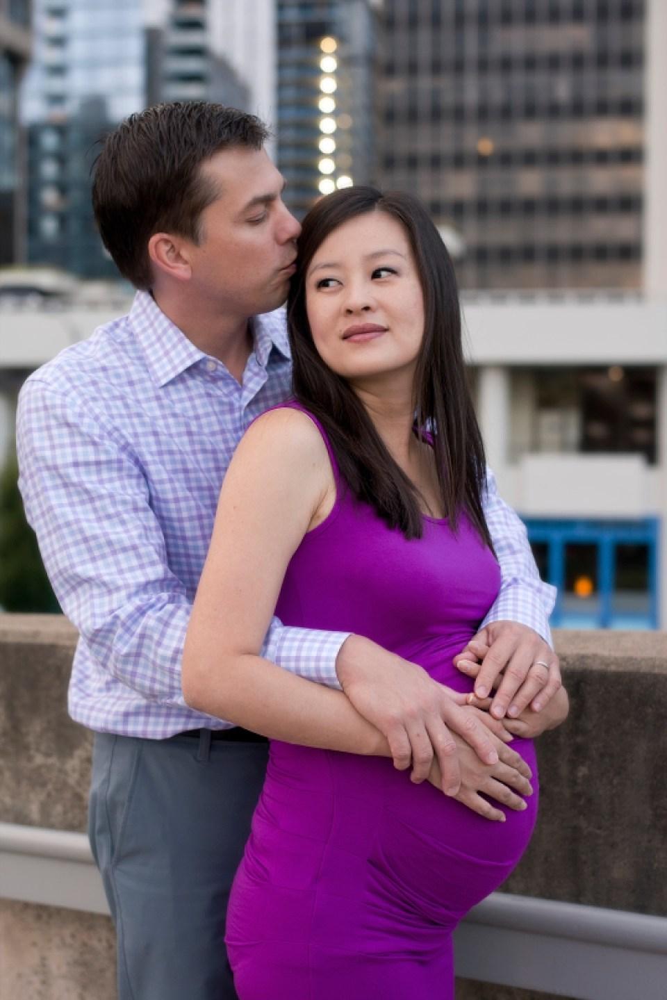 Roslyn Maternity Session, Purple Maternity Dress