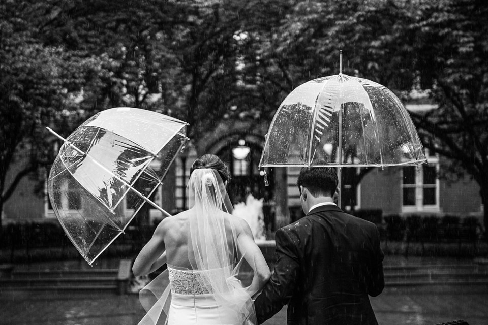 Rainy Wedding at Dahlgren Chapel