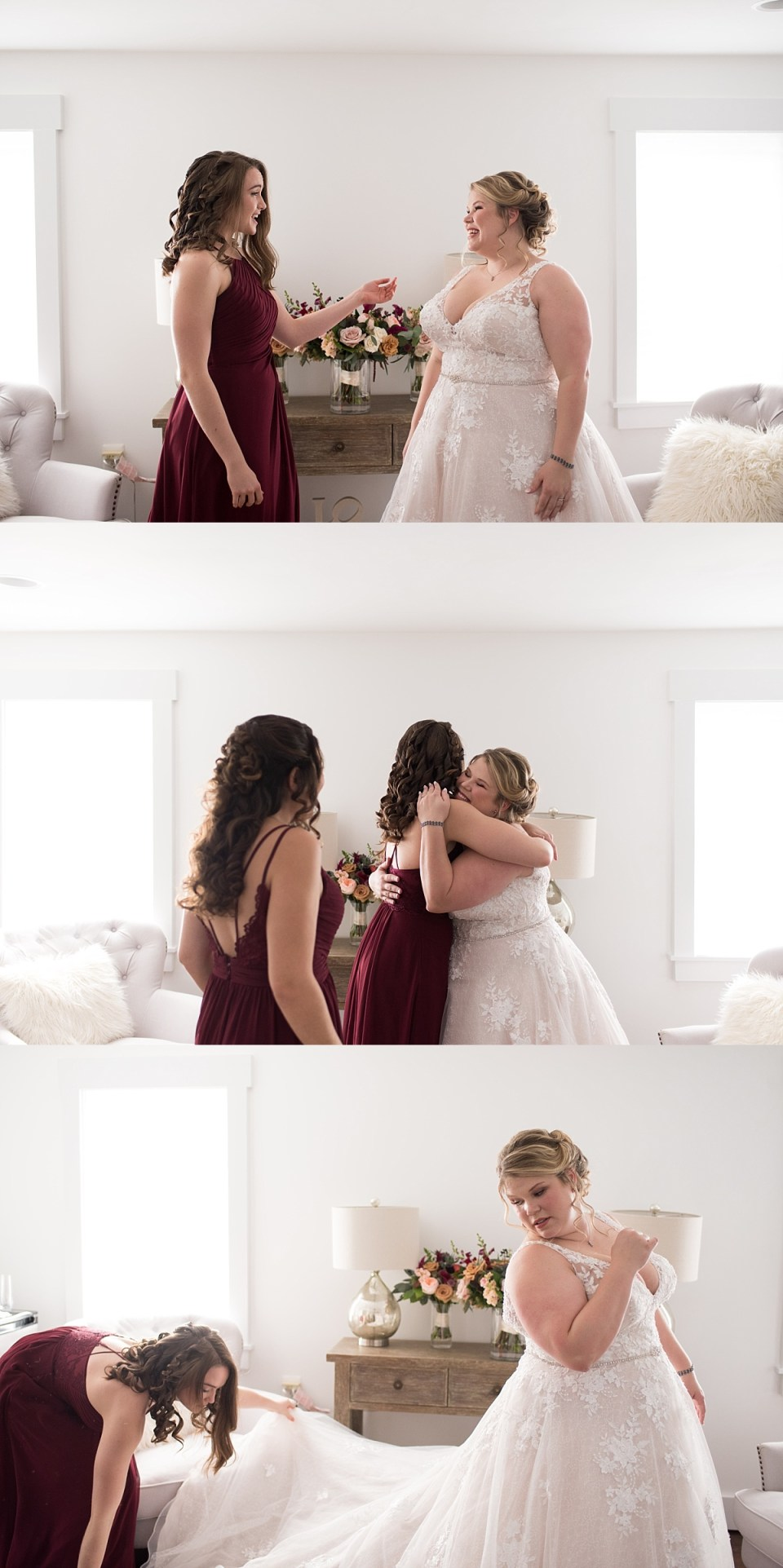 First Look with Bridal Party at Leesburg barn wedding
